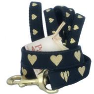 Gold Heart Black Dog Leash makes a statement.
