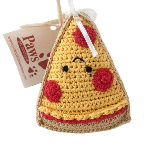 Knit Pizza Dog Toy for Small Pups