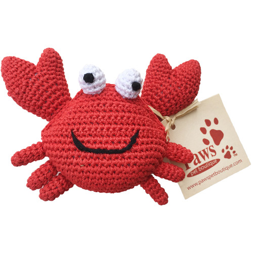 Knit Red Crab Dog Toy