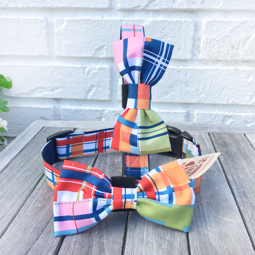 Madras Plaid Bow Tie Dog Collars
