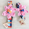 Madras Flower Dog Collar Shown in Size Small and Medium