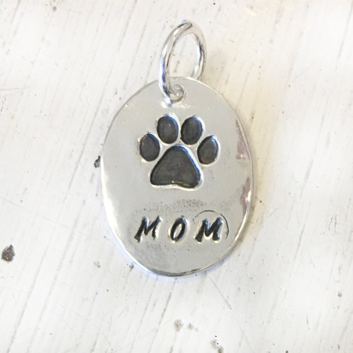 Sterling Silver Paw Mom Charm