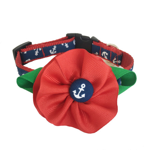 Navy Anchor Dog Collar with Red Removable Flower