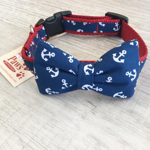 Blue Anchor Bow Tie Dog Collar