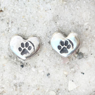 Tiny Silver Heart Paw Print Post Earrings
