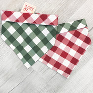 Berry Buffalo Plaid Holiday Dog Bandannas