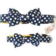 Navy Polka Dot Bow Tie Dog Collar