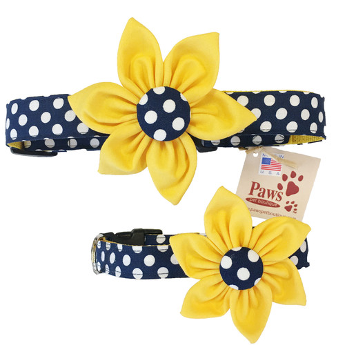 Navy and White Polka Dot Dog Collars with Gold Flower