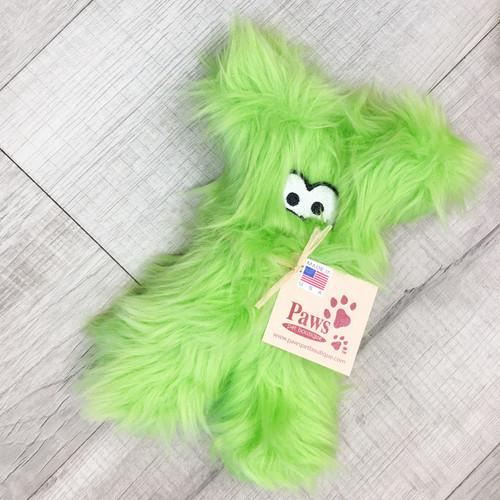 Fuzzy Green Tough Plush Dog Toy