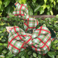 Plaid Bow Tie Dog Collars shown in size small and medium