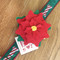 Large Red Poinsettia Flower attached to candy cane dog collar (not included)