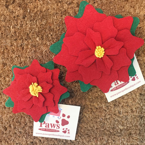 Red Poinsettia Collar Flowers in 2 Sizes