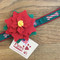 """Small Red Poinsettia Flower on small 3/4"""" wide holiday collar"""