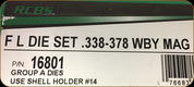 RCBS - Full Length Dies - 338-378 Wby Mag - 16801