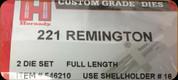 Hornady - Full Length Dies - 221 Remington - 546210