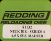 Redding - Neck Sizing Die - 6.5x55 Swedish - 81132