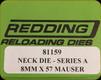 Redding - Neck Sizing Die - 8mmx57 Mauser - 81159