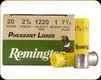 """Remington - 20 Ga 2.75"""" - 1oz - Shot 7.5 - Pheasant Loads - 25ct - 20062"""