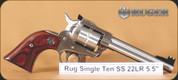 "Ruger - 22LR - Single Ten - Hardwood Grip - SS, 5.5"" - Mfg# 08100"