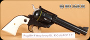 """Ruger - 45ACP/45Colt - Lipsey's Blackhawk Flattop Convertible - 5.5"""", Blued, Simulated Ivory"""