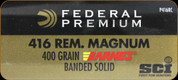 Federal - 416 Rem Mag - 400 Gr - Cape-Shok - Barnes Banded Solid - 20ct - P416RC