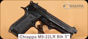 "Chiappa - 22LR - M9-22 - Semi Automatic Handgun - Plastic Grips/Black Finish, 5""Barrel, Windage Adjustable Rear Sight, 2 magazines"
