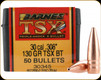 Barnes - 30 Cal - 130 Gr - TSX (Triple-Shock X) - Boat Tail - 50ct - 30345