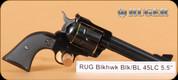 "Ruger - 45LC - New Model Blackhawk - SA Revolver - Black Checkered Hard Rubber Grips/Blued, 5.5""Barrel, Mfg# 00465"