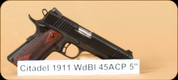 "Citadel - 45ACP - 1911 - Checkered Wood Grips/Blued Finish, 2 mags, 5""Barrel"