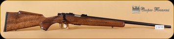 "Cooper - 17HMR - M57 Jackson Squirrel - AA+ Claro Walnut/Blued, 22""Barrel, Steel Grip Cap - S/N CF23659"
