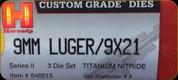 Hornady - Titanium Nitride Dies - 9mm Luger/9x21 - 3 Die Set - 546515