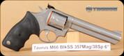 "Taurus - 357Mag/38Spl - M66 - Blk Rubber Grip/Matte SS , 6"" - Fixed Front/Adj Rear Sights - 7rds - Mfg# 2-660069"