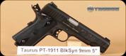"Taurus - 9mm Luger - PT1911 - Single Action - Semi Automatic Pistol - Checkered Black Grips/Taurus Blue Steel Finish, 5"" Barrel, Novak Sights, Mfg# 11911019"