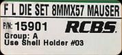 RCBS - Full Length Dies - 8mm x 57 Mauser - 15901