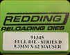 Redding - Series D - Full Die - 9.3x62 Mauser - 91345