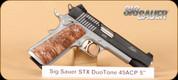 "Sig Sauer - 45ACP - 1911 STX - Semi Automatic Pistol - Maple Wood Grips/Nitron Finish, 5"" Barrel, 8 Round Capacity"