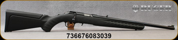 """Ruger -22LR - American Rimfire Compact - Bolt Action Rifle - Black Composite Stock w/Interchangeable Comb Height/Satin Blued, 18"""" Barrel, Mfg# 08303"""