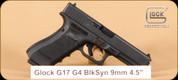 """Glock - G17 - 9mm - G4, Black, fixed sights, 3 mags, 4.5"""" - Mfg# UG1750201"""