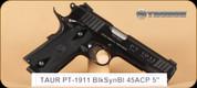 "Taurus - PT1911 - 45ACP - BlkSyn/Polished Blue, 5"" - Mfg# 191101PBL"