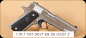 "Colt - 45ACP - 1991 Govt - BlkSyn/SS, 1 mags, 5"", MFG# 01091, Series 80"