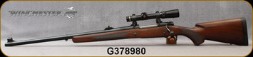 """Consign - Winchester - 416RM - M70 - LH - Grade A Walnut/Blued, 24""""Barrel, 375H&H bored to 416Rem by Ron Smith, c/w Warne QR rings, Leupold Vari-X-III 1.5-5, Plex reticle"""