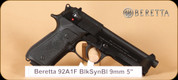 "Beretta - 9mm - 92AI - Type F, BlkSyn/Blued, 4.9"", 2 mags, speedloader, hard case"