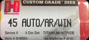 Hornady - Titanium Nitride Dies - 45 Auto/AR/WIN - 3 Die Set - 546554