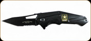 "Army Strong - U.S. Army Folding Knife - 3.2"" Modified Tanto Combo Blade - Black Steel Handle"