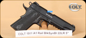 "Colt - 22LR - Govt 1911 A1 - Government, BlkSyn/Bl, Rail, Speed Loader, 1 mag, 5"" - Mfg# 5170308"