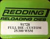 Redding - Full Die - Custom - 25/300 WSM - 91728