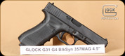 "Glock - 357SIG - G31 - Gen4 - Black, 4.5"", 3 10rd Mags, Interchangeable Backstraps, Fixed Sights - Mfg# PG3150201"