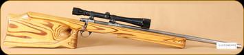 """Used - Custom - 22-250Rem - Custom - laminate stock, Elwood Epps Barrel, 25.5"""", 1lb trigger, fiberglass bedded, Bushnell 10x, RCBS dies"""