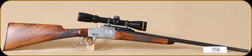"Used - Furtschegger - 222Rimmed - Falling Block - Wd/Bl, custom engraved receiver, rechambered from 8x57JR, 25"", Leupold VX-3 2.5-8x36"