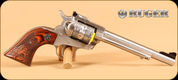 """Ruger - 22LR/22WMR - Single Six - SS, Engraved Cylinder and Grips, 6.5"""" - Mfg# 00676"""